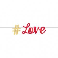Banner decorativ hashtag Love - 365 x 15 cm, Amscan 120319