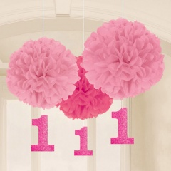 3 Fluffy Decorations with Danglers First Birthday Girl Paper 40.6 cm / 17.8 cm, Radar 180028