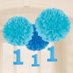 Decoratiuni pompoane bleu cu cifra 1 de agatat - 40 cm/17.8 cm, Amscan 180029, set 3 bucati
