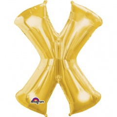 Balon folie mare litera X auriu - 88 cm, A32996