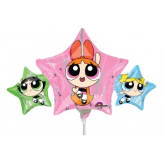Balon mini figurina Powerpuff Girls - 43 x 22 cm, umflat + bat si rozeta, Amscan 34599