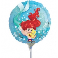 Balon Mini Folie Ariel Dream Big - 23 cm, umflat + bat si rozeta, Amscan 33939