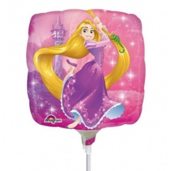 Balon mini folie Rapunzel - 23 cm, umflat + bat si rozeta, Amscan 33221