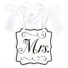 "Placuta decor nunta ""Mrs"" - 23,8 x 24,7 cm, Amscan 241444"
