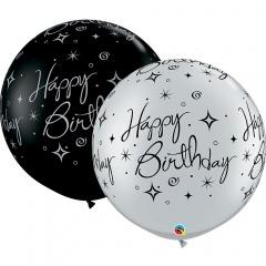 Baloane latex Jumbo 75 cm inscriptionate Happy Birthday, Qualatex 53476, set 1 buc