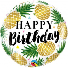 Balon Folie 45 cm Ananas - Happy Birthday, Qualatex 57277