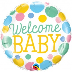 Balon Folie 45 cm Welcome Baby Dots, Qualatex 55391