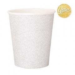 Pahare carton pentru petrecere cu sclipici argintiu - 250 ml, Radar 45561, set 8 bucati