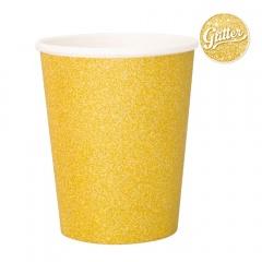 Pahare carton pentru petrecere cu sclipici auriu - 250 ml, Radar 45560, set 8 bucati