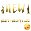 Banner decorativ pentru petrecere, Happy New Year - auriu, Radar 45558