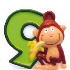 Candle Number 1 Safari Monkey, Amscan RM551791, 1 Piece