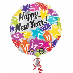 "Balon Folie 45 cm "" Happy New Year "" Stars, Amscan 31451"