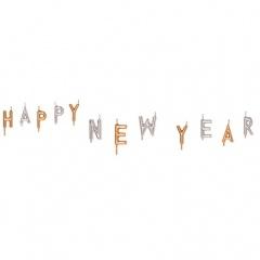 Lumanari Happy New Year - aurii/argintii, Amscan 552041