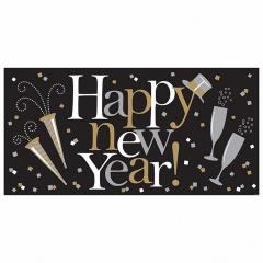 Banner decorativ pentru petrecere 165 cm, Happy New Year, Amscan 120217, 1 buc