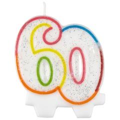 Lumanare aniversara pentru tort 60 ani, Multicolor, Amscan 996457, 1 buc