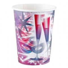 Pahare carton pentru petrecere Revelion, 266 ml, Amscan 552597, Set 8 buc