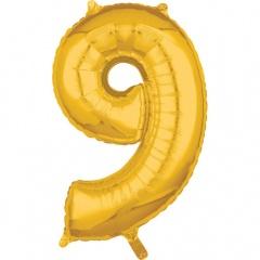 Balon Folie Cifra 9 Auriu - 66 cm, Amscan 36562