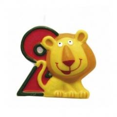 Candle Number 2 Safari Lion, Amscan RM551792, 1 Piece