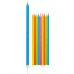 Lumanari aniversare pentru tort multicolore cu suport, Radar 50712, set 10 bucati