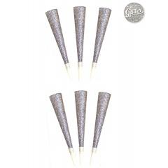 Trompeta party argintie cu sclipici - 25 cm, AS52095, 6 buc