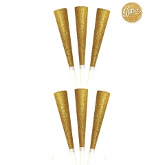 Gold Party Horns with Glitter, Radar 52093, Pack of 6 pieces
