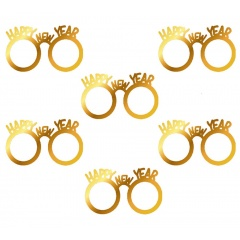Ochelari carton aurii Happy New Year - Radar 45557, set 6 buc