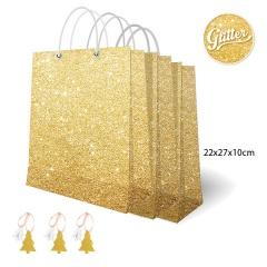 Punga aurie cu sclipici pentru cadouri - 16 x 19 x 8 cm, Radar 45570