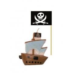 Lumanare aniversara de tort corabie pirati + 6 scobitori stegulete, Radar 51415, Set 7 buc
