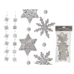 Ghirlanda decorativa cu stelute si fulgi de nea cu sclipici - L: ca. 1,1 m, Radar 960267