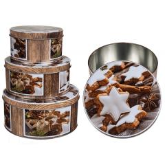 Set 3 cutii festive Craciun pentru biscuti - ca. 20 x 9 cm, 17 x 8 cm, 14 x 7 cm, Radar 946230