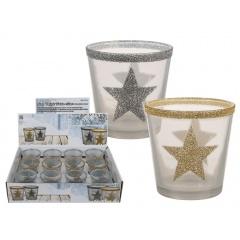 Suport decorativ cu sclipici pentru lumanare - ca. 7,5 x 7,5 cm, Radar 938923, auriu/argintiu