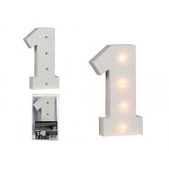 Cifra decorativa din lemn cu LED - ca. 16 cm, Radar 57/6101