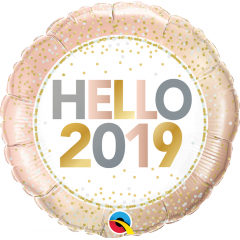 "Balon Folie 45 cm "" Hello 2019'', Qualatex 58160"