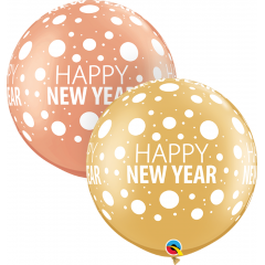 "Balon latex Jumbo 30"" inscriptionat Happy New Year - 2 culori, Qualatex 80680"