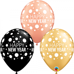 "Baloane latex 11"" inscriptionate Happy New Year, Qualatex 80679"