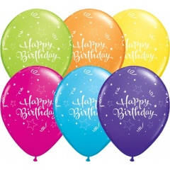 Baloane latex 11'' Happy Birthday - Tropical Assortment, Qualatex 11983