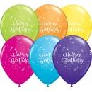 Baloane latex 11'' Happy Birthday - Tropical Assortment, Qualatex 13552