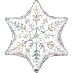 Balon Folie Figurina Fulg de Nea Holografic - 89 cm, Qualatex 55327