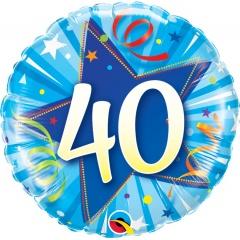 Number 40 foil balloon - blue, 45 cm, Qualatex 30244