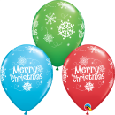 "11"" Merry Christmas and  Snow Flakes Latex Balloons, Qualatex  55239"