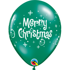 Baloane latex Merry Christmas, Qualatex 21604, Set 6 buc