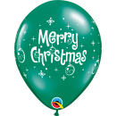 Latex Balloons Printed with Merry Christmas, Qualatex 21604, Set of 6 pieces