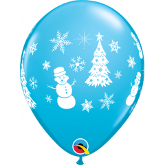 Festive Winter Scene Latex Ballons, Qualatex 21606
