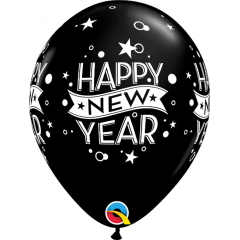 Latex Balloons Printed with Happy New Year, Qualatex 46511, set of 6 pieces
