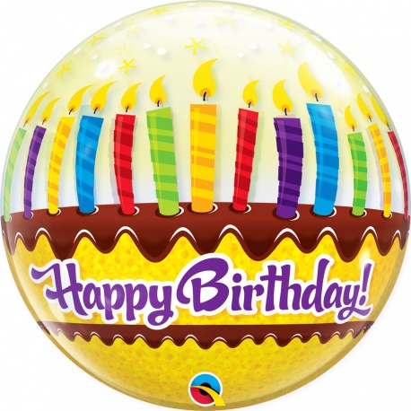"""Candles & Frosting Bubble Balloon - 22""""/56 cm, Qualatex 10398, 1 piece"""