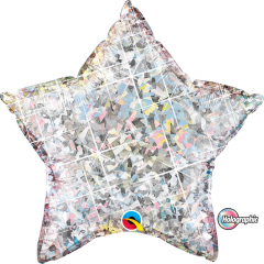 Balon folie holografic -stea 23 cm, Qualatex 50068, 1 buc