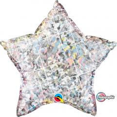 "Holographic Star Foil Balloon - 9""/23cm, Qualatex 50068, 1 piece"