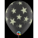 Printed Latex Balloons, Glow Stars-A-Round Diamond Clear, Qualatex 73994