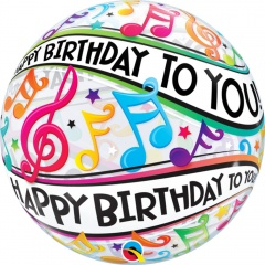 """Happy Birthday To You Music Notes Bubble Balloon - 22""""/56 cm, Qualatex 13795, 1 piece"""