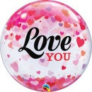 "Balon Bubble 22""/56 cm, Love You Confetti Hearts, Qualatex 54604"